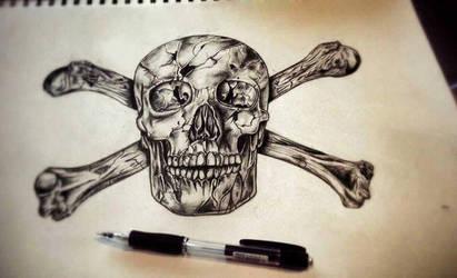Headskull and bones by Ferdiferrah