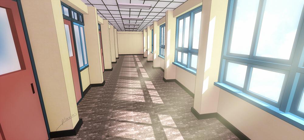 School corridor by pluvias on deviantart - Wallpaper corridor ...