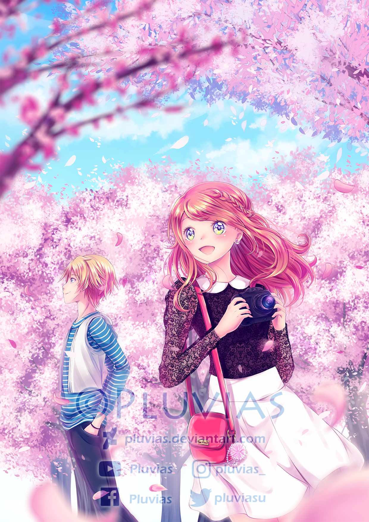 under the cherry blossoms by pluvias on deviantart