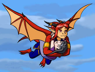 Mishann in flight with Lily by Timothius