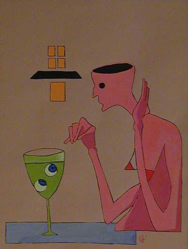 Absinthe drinking woman