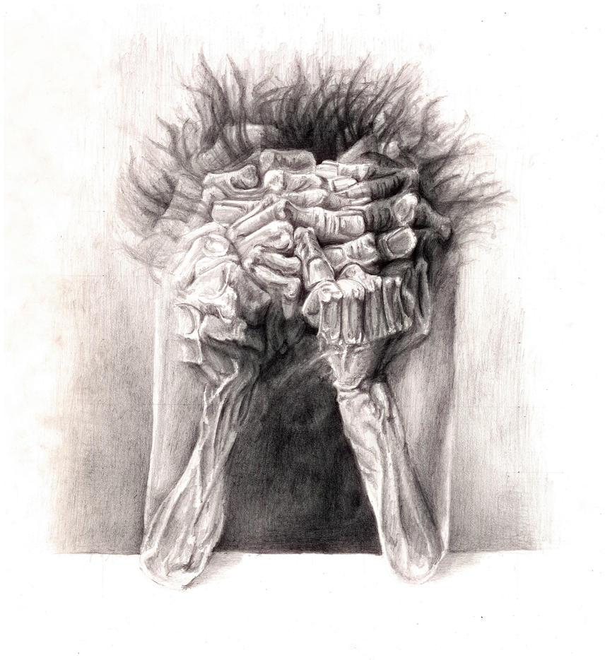 Beksinski 02 - pencil by Beezqp2