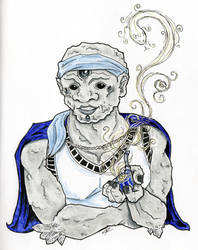 Pathfinder Inktober Day 14: Oread Wizard by pleasant28