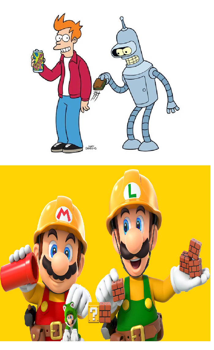Fry And Bender Adores Builder Mario And Luigi By