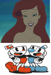 Cuphead and Mugman gets lovestruck by Ariel