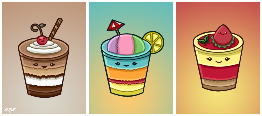 Kawaii Dessert Trio By PixieDust01