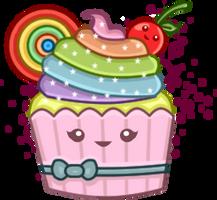 Kawaii Rainbow Cupcake by PixieDust01