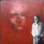 man and red wall