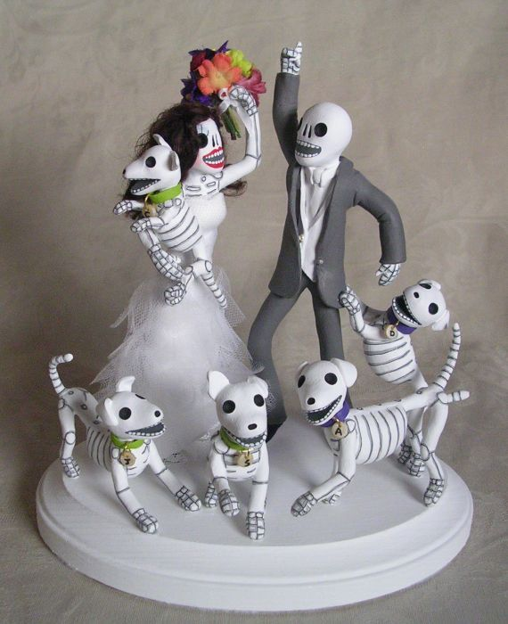 day of the dead wedding cake topper bride and groom day of the dead wedding cake topper by claylindo on deviantart 13361
