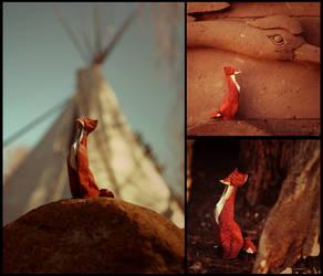 Sitting Fox by FoldedWilderness