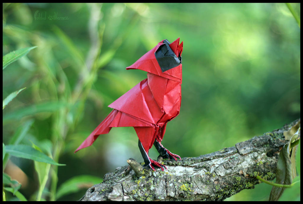 Origami Singing Cardinal by FoldedWilderness