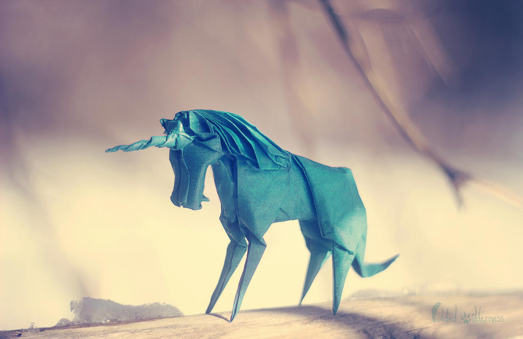 Origami Winter Unicorn by FoldedWilderness
