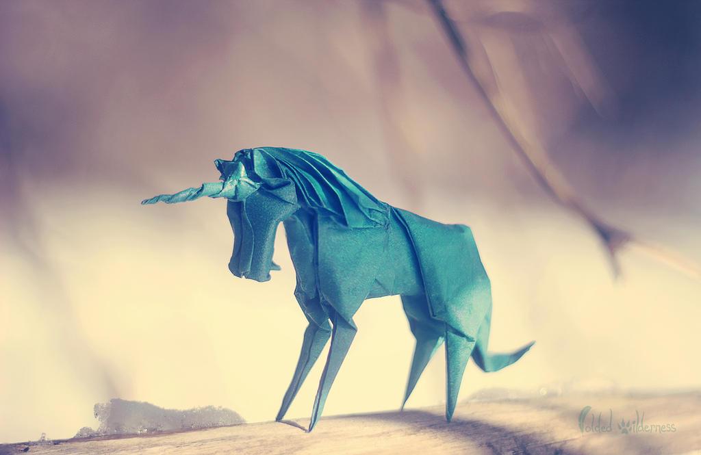 Origami Winter Unicorn by FoldedWilderness