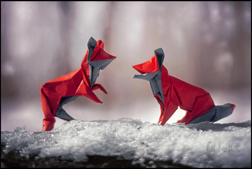 Foxy Friends Frolicking by FoldedWilderness