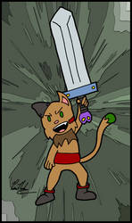 Sampson With Sword - Cat And The Bulky Sword by chelano