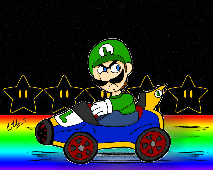 Rainbow Luigi Death Stare by chelano