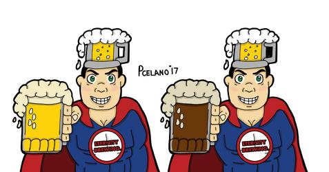 Captain Beer Light And Dark Beer In Mug