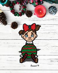Upset Little Girl Dressed As A Christmas Bulb