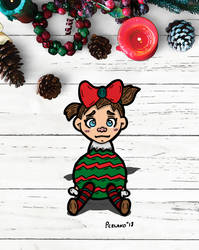 Upset Little Girl Dressed As A Christmas Bulb by chelano