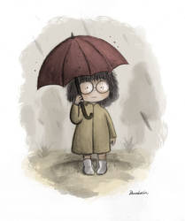The girl with the red umbrella by LittleTribe