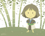 Hmong girl in woods