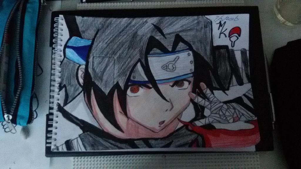Sasuke Uchiha is doing the firebol jutsu.  by Uchihaworior13