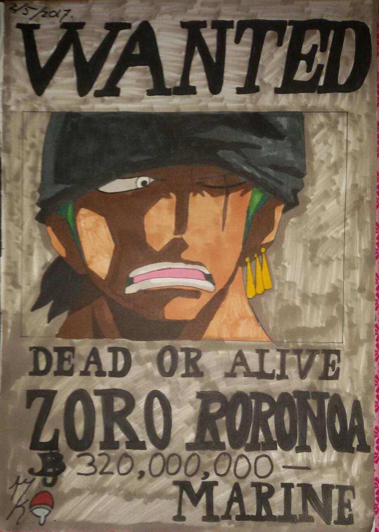 One piece wanted poster Zoro Roronoa.  by Uchihaworior13