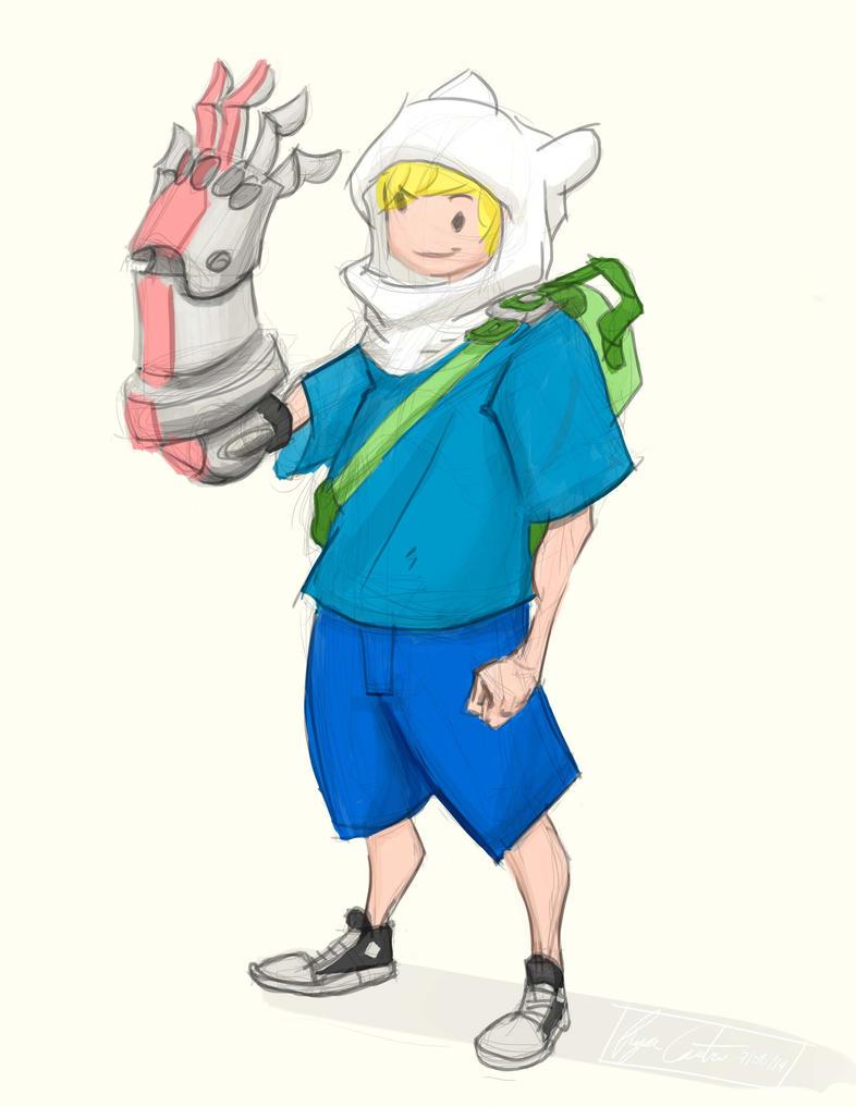 Quick Sketch - Finn admiring his new arm by RyCAS