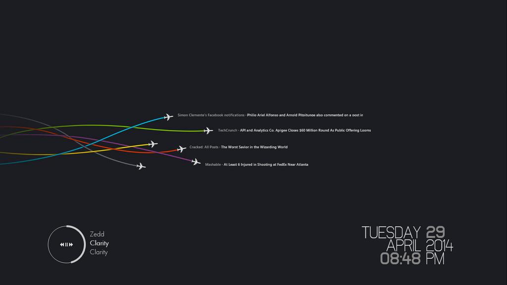 Plane Trails (Minimal Desktop, 29 April 2014) by serin113