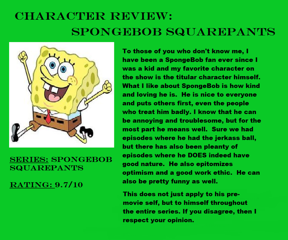 Character Review: SpongeBob Squarepants by Murvine-Taylor