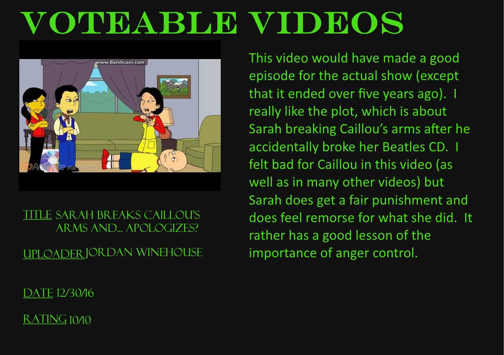 Voteable Videos #1: Sarah breaks Caillou's arms by Murvine-Taylor