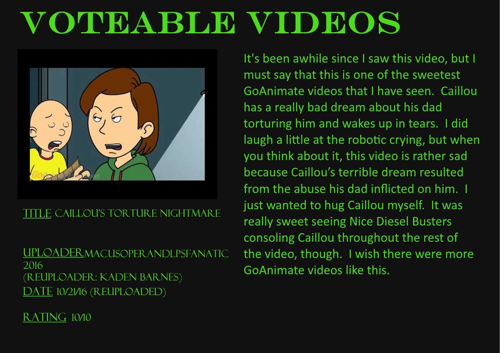Voteable Videos #4: Caillou's Torture Nightmare by Murvine-Taylor