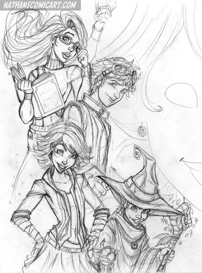 THE LOST KIDS COVER B - SKETCH by nathanscomicart