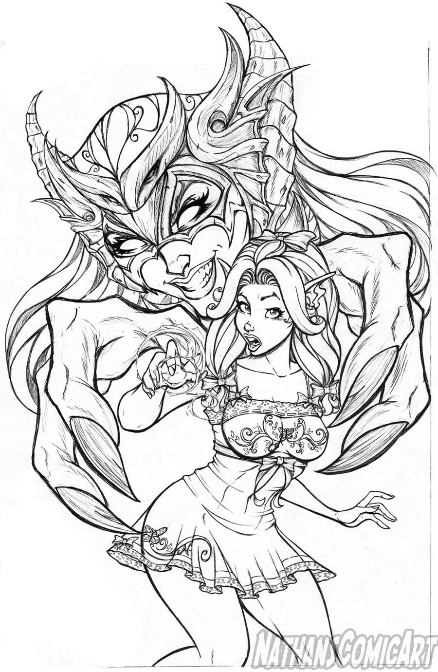 Line Art Comic : Knightingail vol cover line art by nathanscomicart