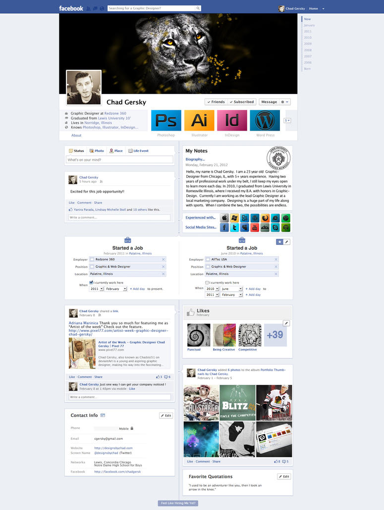 facebook resume  cv by chadski51 on deviantart
