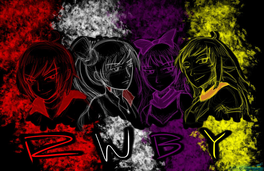 Team RWBY Sketch Silhouette by RAFstoryart