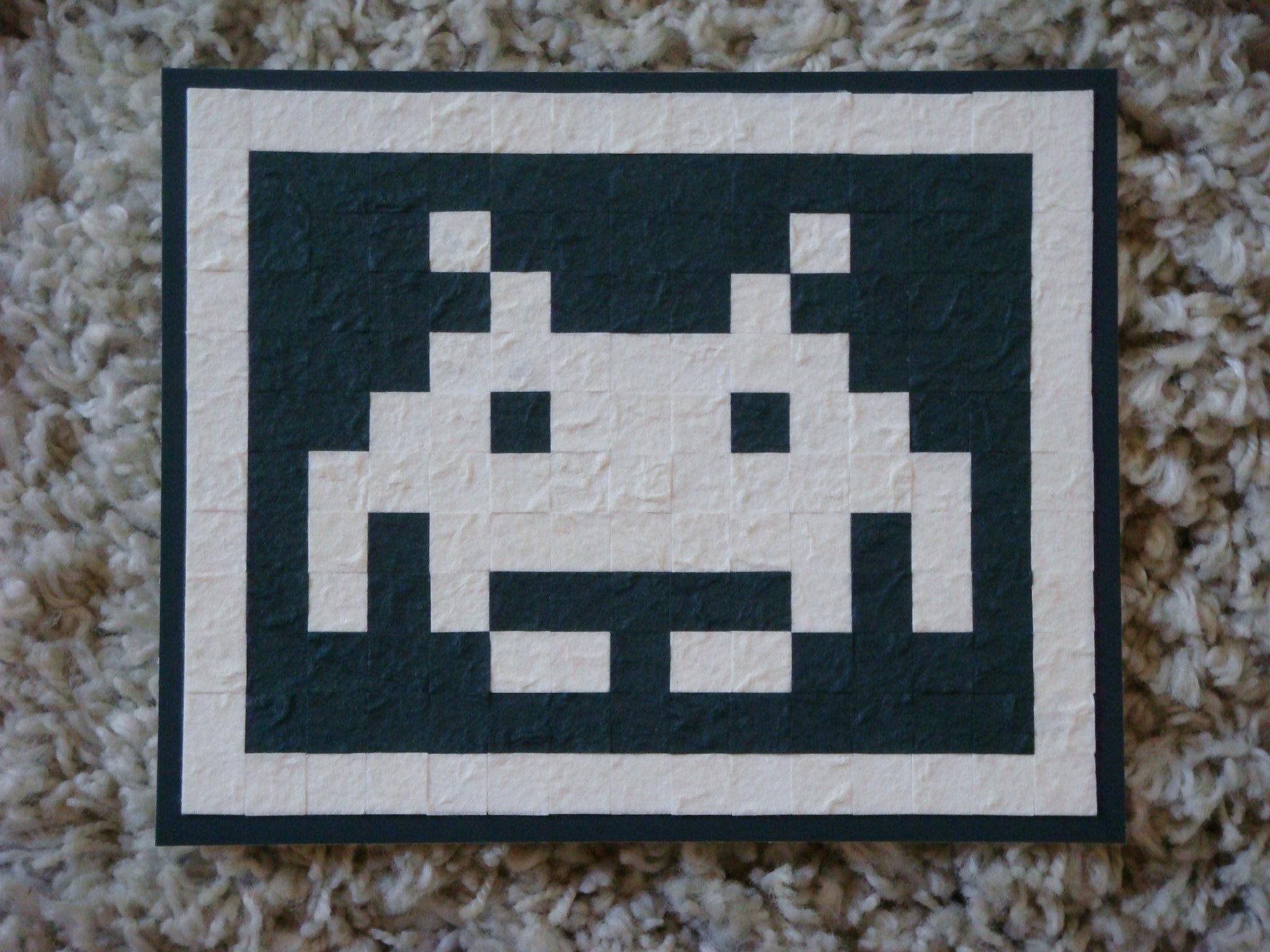 atari space invader paper mosaic by nintentofu