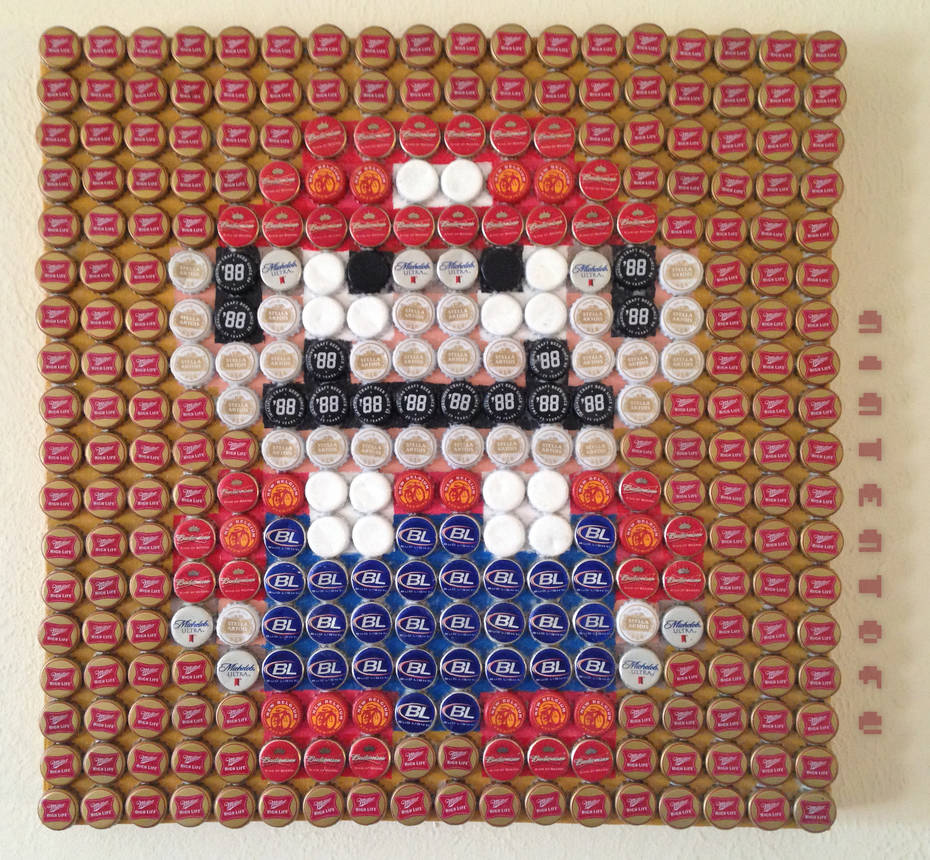 Super Mario World - Beer Bottle Cap Mosaic Art