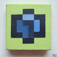 a micro blue isometric voxel, up-close.. @_@