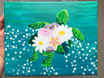 Baby Turtle with Flowers