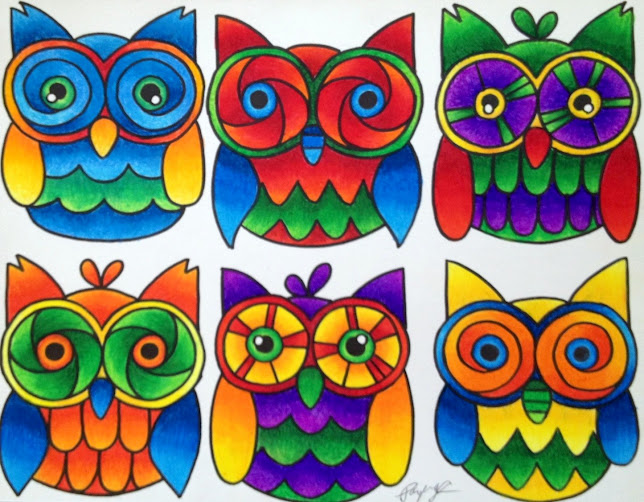 Colorful Owl Paintings
