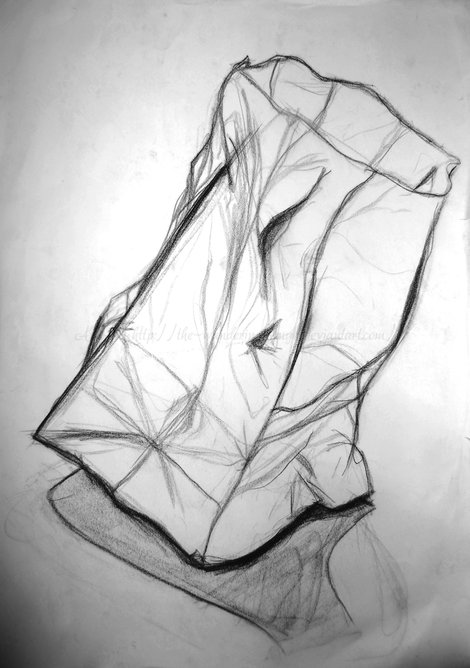 Paper bag sketch -  Foundation Drawing I Paper Bag Drawing By The Wandering Angel
