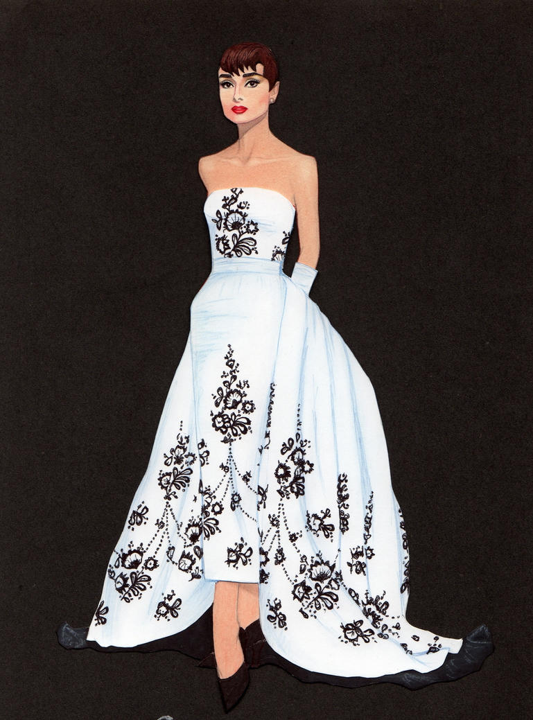 Audrey Hepburn paper doll in Givenchy gown by pdgregg on DeviantArt