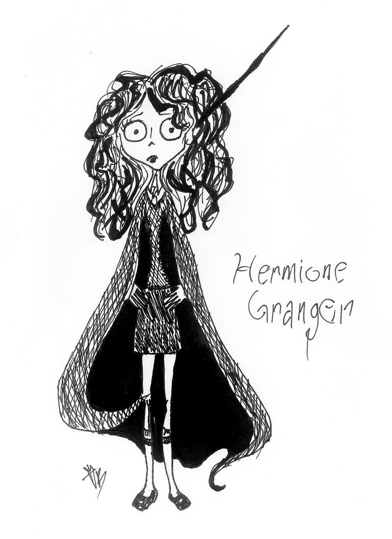 Hermione Granger in the style of Tim Burton by VB-lurvs-gummy-bearz