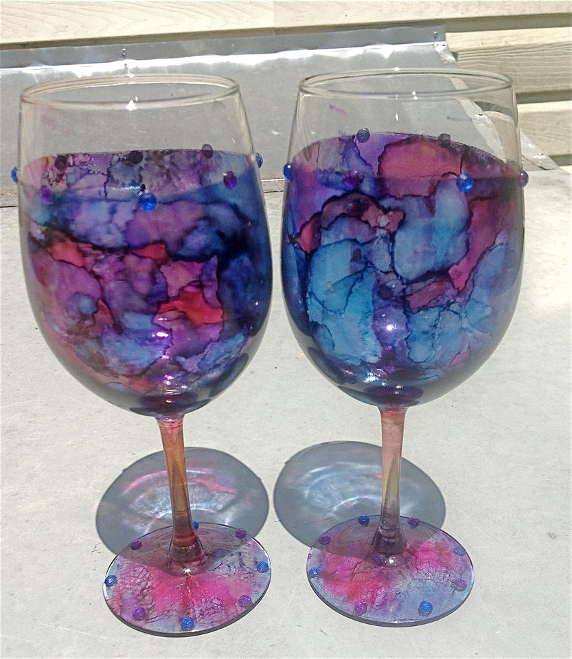 Marbled wine glasses by mercywraith on deviantart for Do it yourself wine glasses