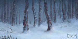 Frozen dead forest