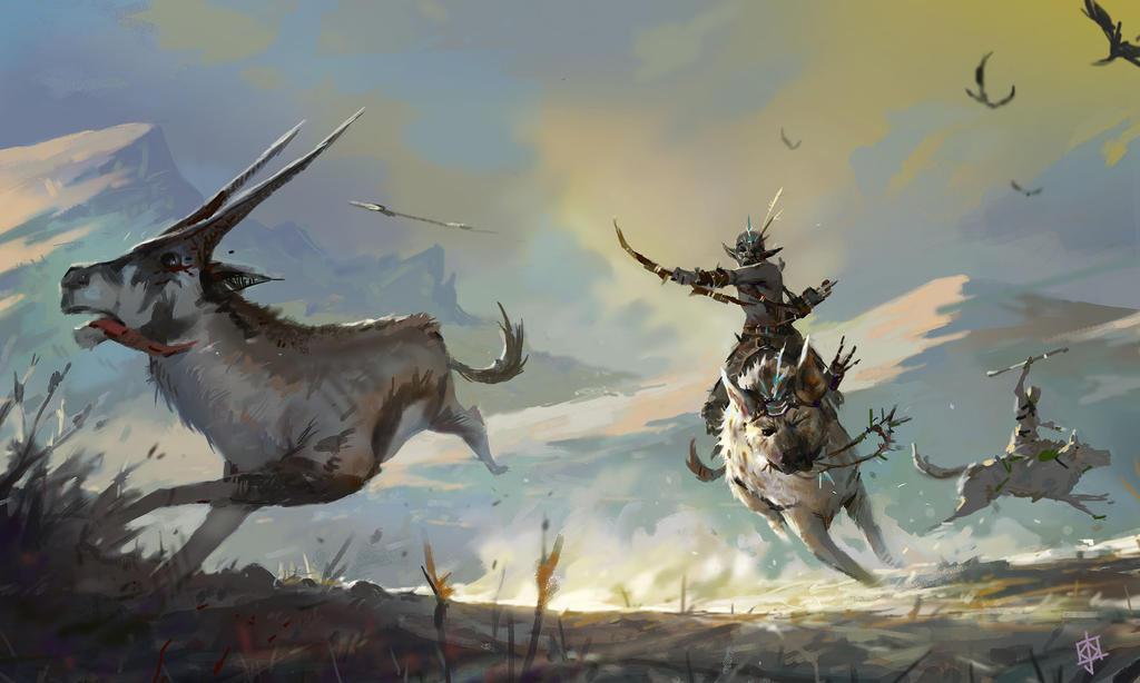 White Warg Warg Rider
