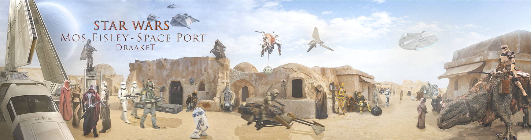 Mos Eisley Space Port - 4000x1060 - by DraakeT