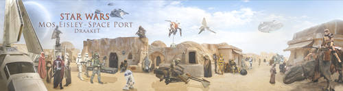 Mos Eisley Space Port - 4000x1060 - by DraakeT by DraakeT