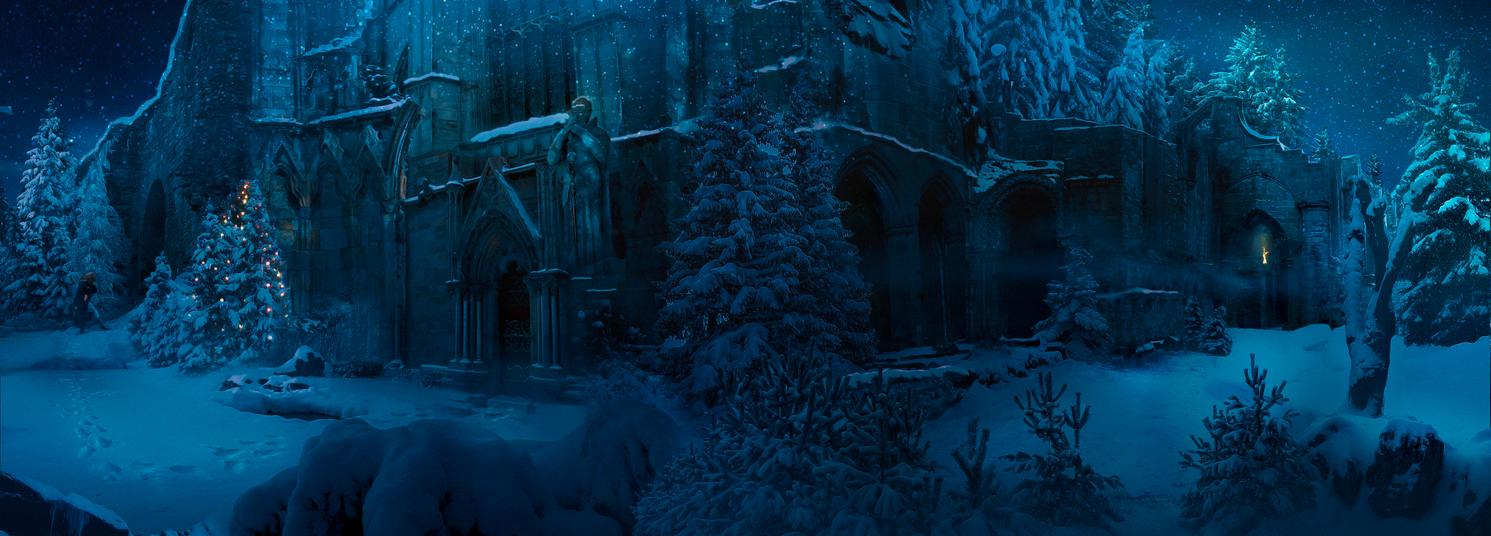 Hogwarts some hour before Christmas